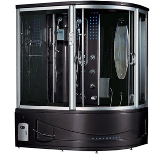 """Siena-Left 51"""" x 88"""" Round Sliding Steam Shower with Base Included"""