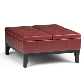 Simpli Home AXCOT-235-RRD Dover Square Coffee Table Storage Ottoman in Radicchio Red Faux Leather