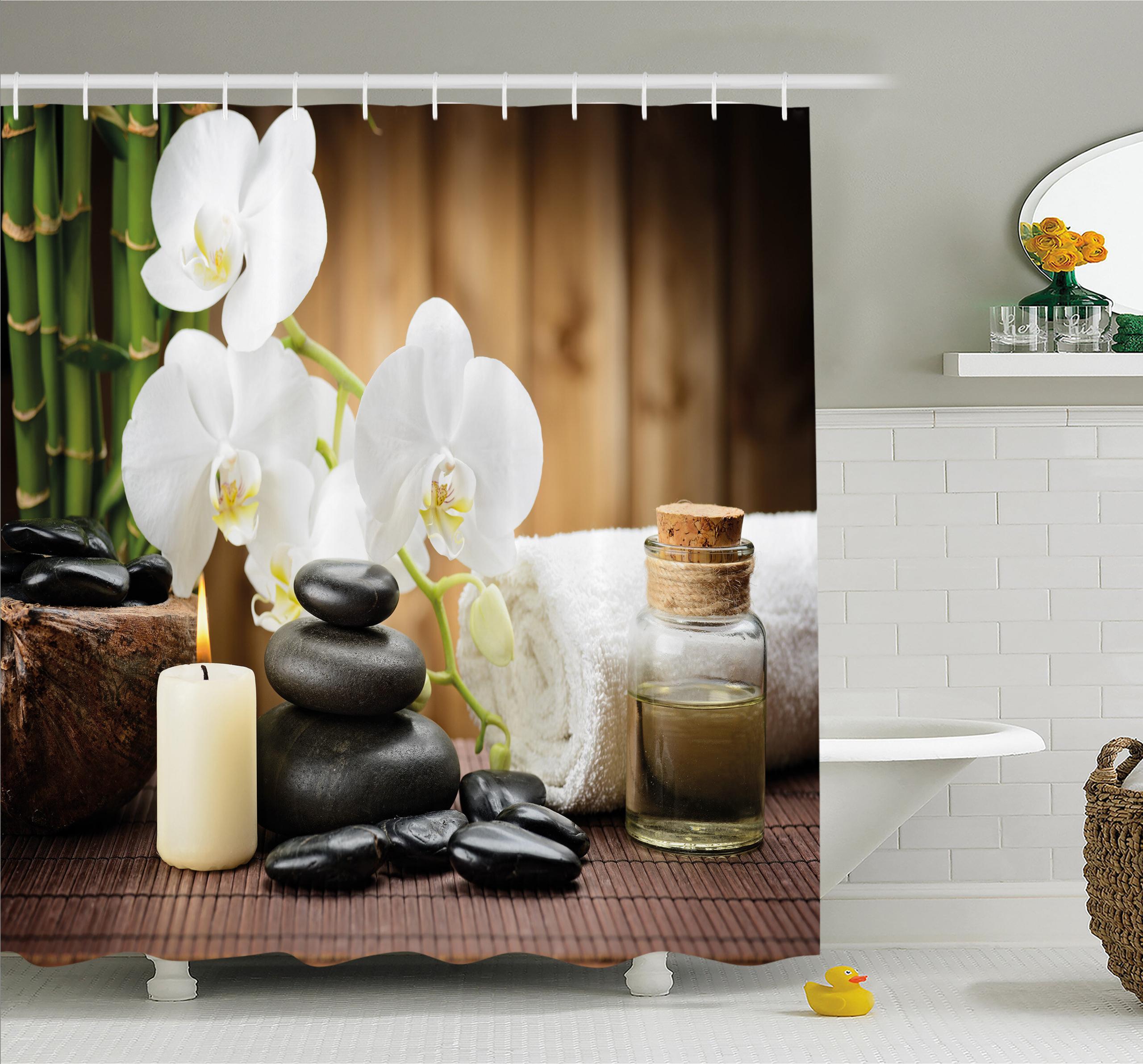 Spa Shower Curtain Hot Rocks Candles Bamboos Print for Bathroom