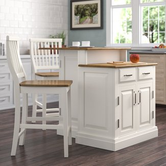 Susana 3 Piece Kitchen Island Set with Wood Top