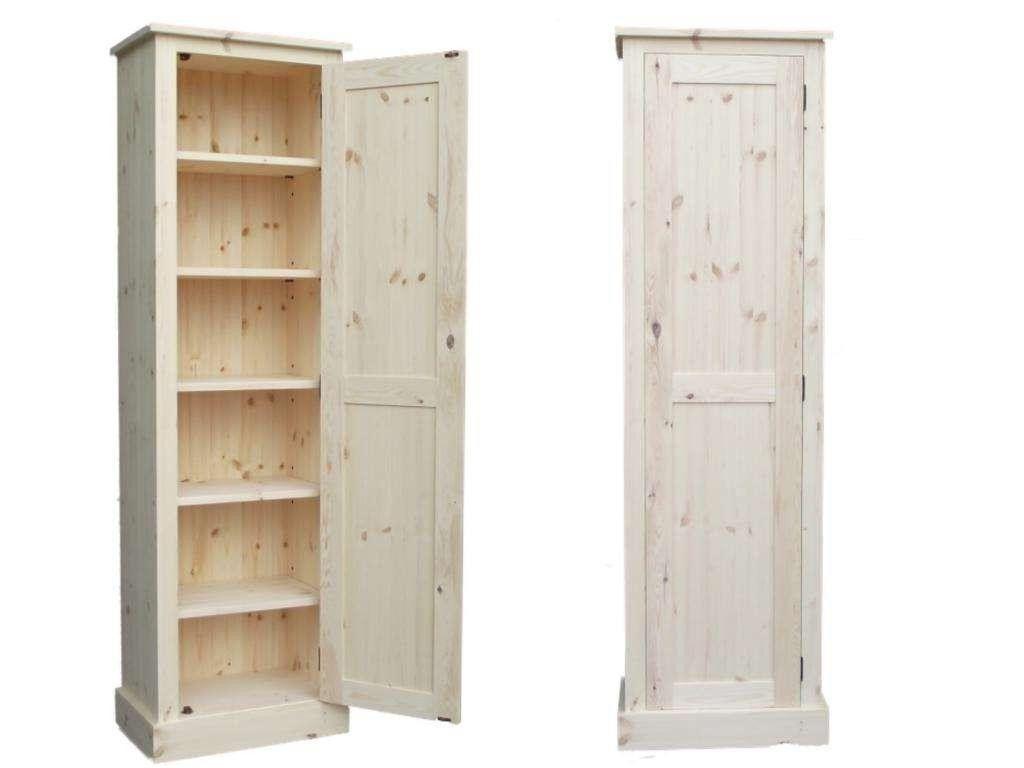 Tall Slim White Wood Storage Cabinet w//Shelves Drawer Doors