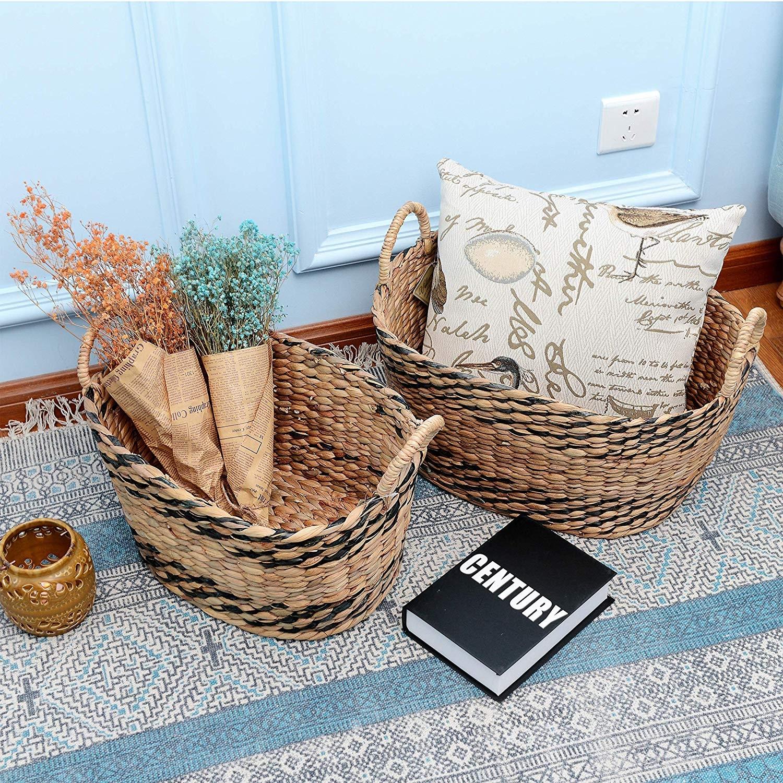 StorageWorks Hand-Woven Seagrass Storage Baskets Wicker Shelf Storage Tote Basket 1PC Large, 2PCS Medium Set of 3
