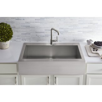 "Vault Top-Mount Single-Bowl Stainless Steel Kitchen Sink with Shortened Apron-Front for 36""Cabinet"