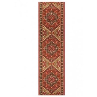Ventre Traditional Medallion Rubber Backed Red Area Rug