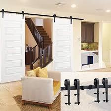 Single Sliding Barn Door Wood Hardware Roller Modern Style Track System Set Room