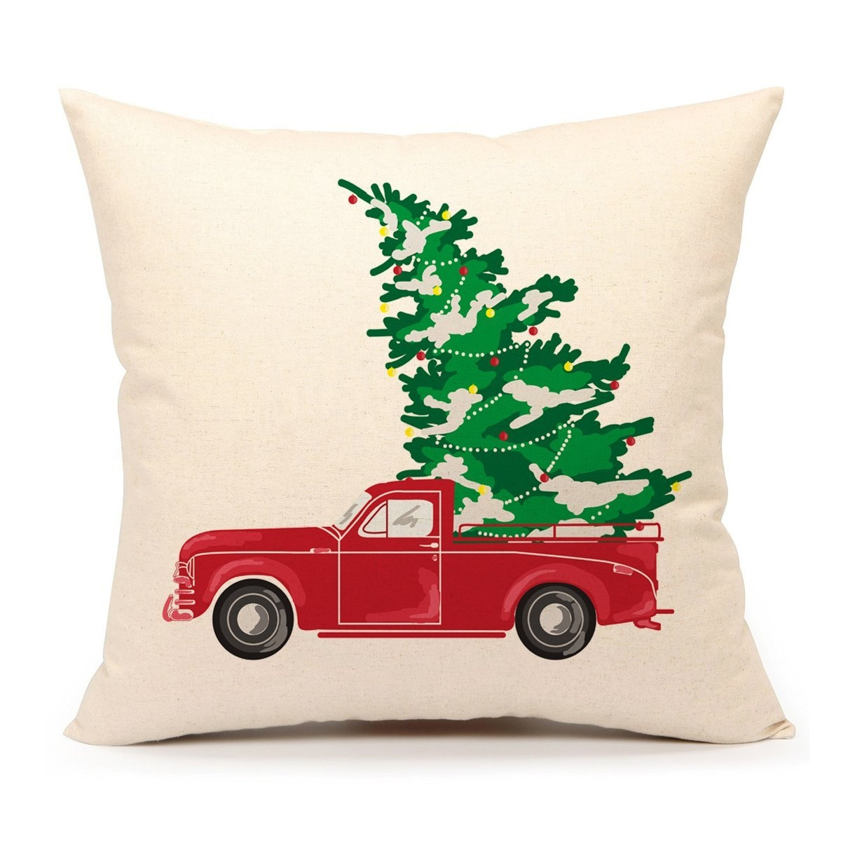 """Vintage Christmas Red Truck Outdoor Pillow 18/"""" x 18/"""""""