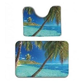 Tropical Ocean Palm Trees Floor Memory Foam Carpet Rug Non-slip Door Bath Mat