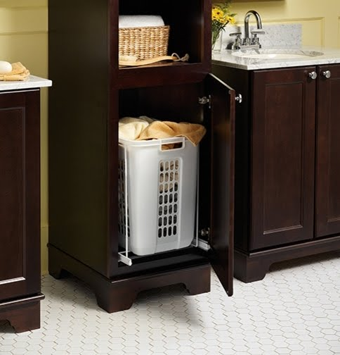 Linen Cabinet With Hamper You Ll Love, Bathroom Cabinet With Built In Laundry Hamper