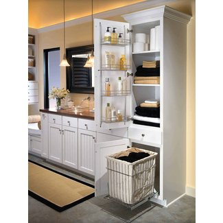 Linen Cabinet With Hamper You Ll Love, Tall Bathroom Linen Cabinet With Hamper