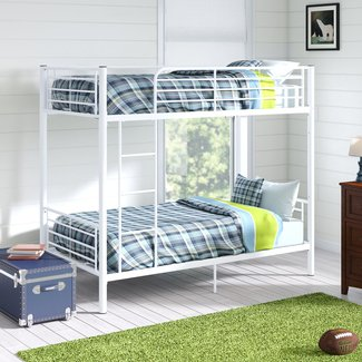 Beds Mattresses Bunk Beds White Double With Mattresses Drawers Solid Short Size 2ft6 Home Garden