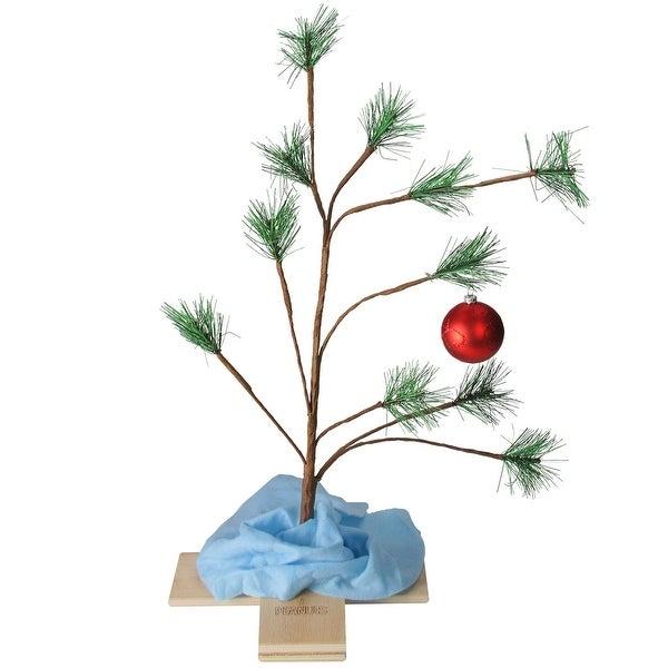 "SNOOPY CHRISTMAS TREE 24/"" TREE A LARGE CHARLIE BROWN TREE W// 1 CHRISTMAS BALL"