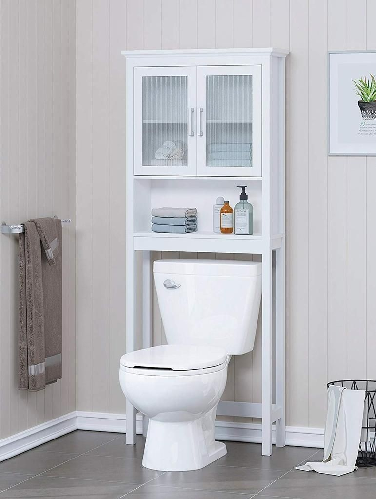 White Toilet Cabinet Bathroom Towel Storage Organizer Shelf Floor Free Standing