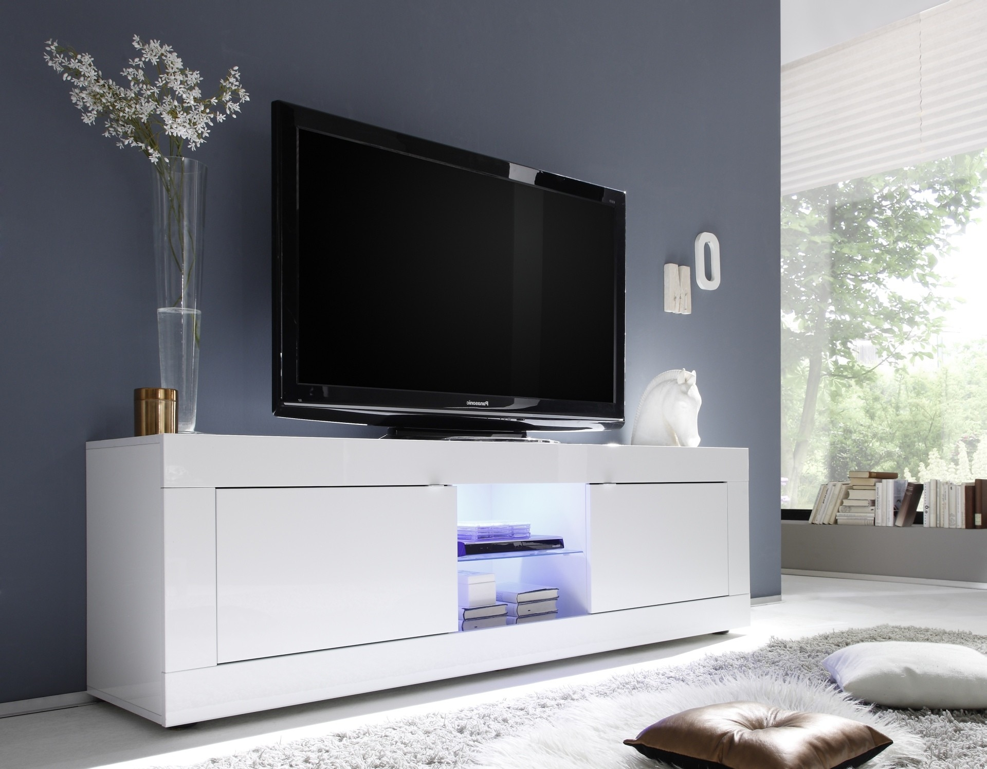 Living Room TV Display Stand Cupboard White LED High Gloss Modern Cabinet Unit