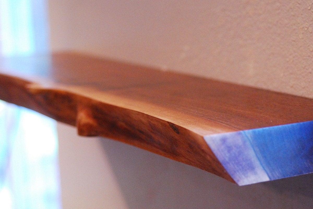 live edge floating shelf walnut natural wood shelf