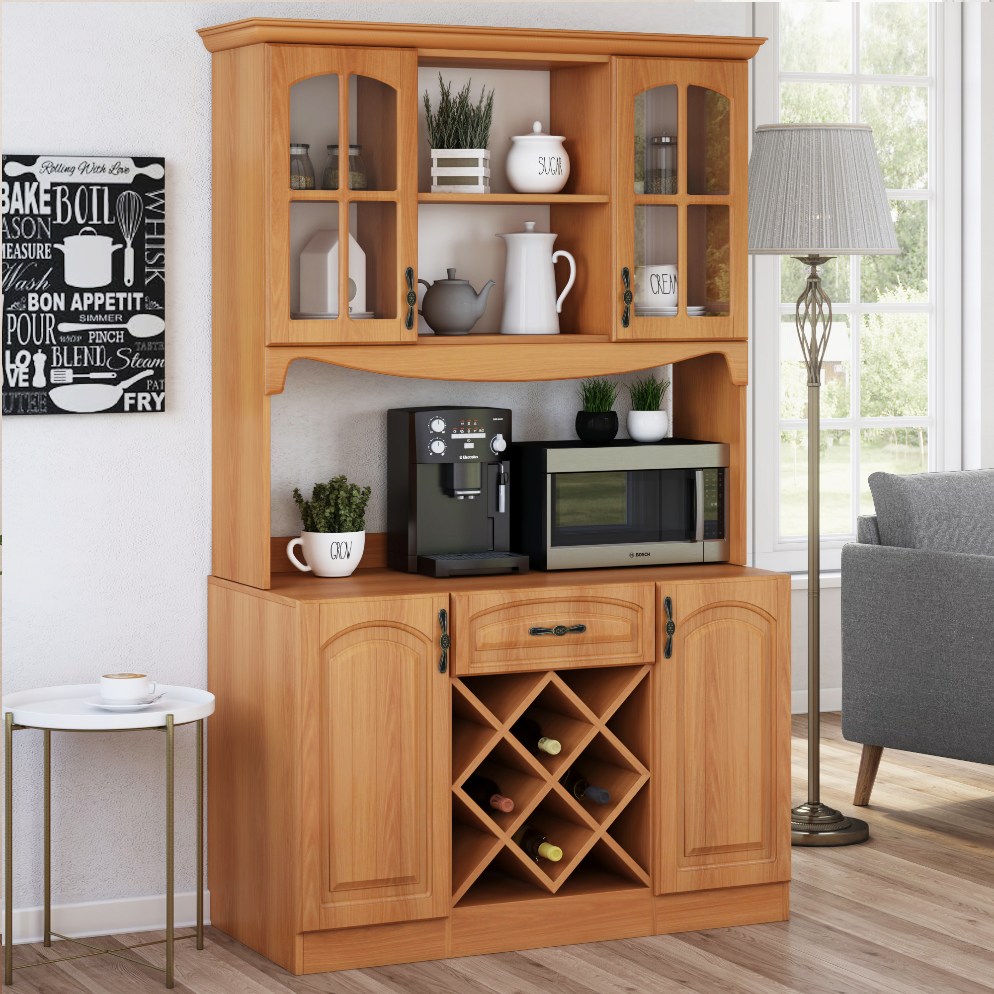 Classic wooden kitchen hutch