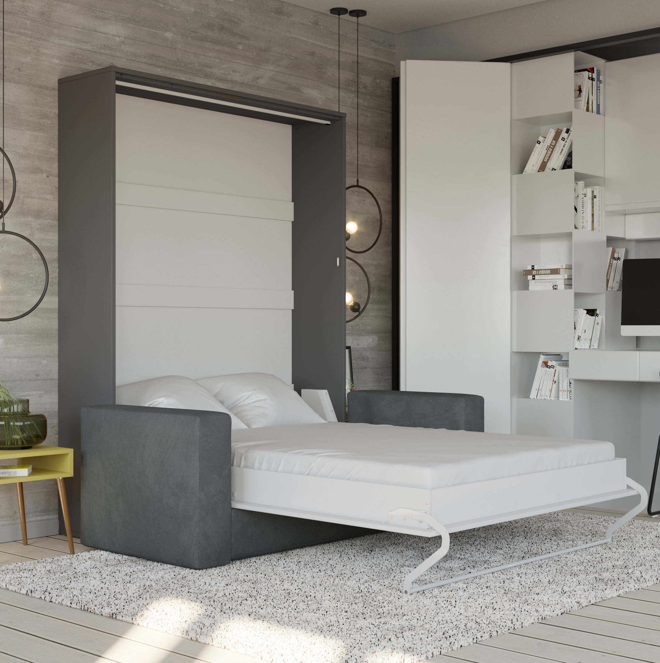 Gray Murphy Bed With Mattress