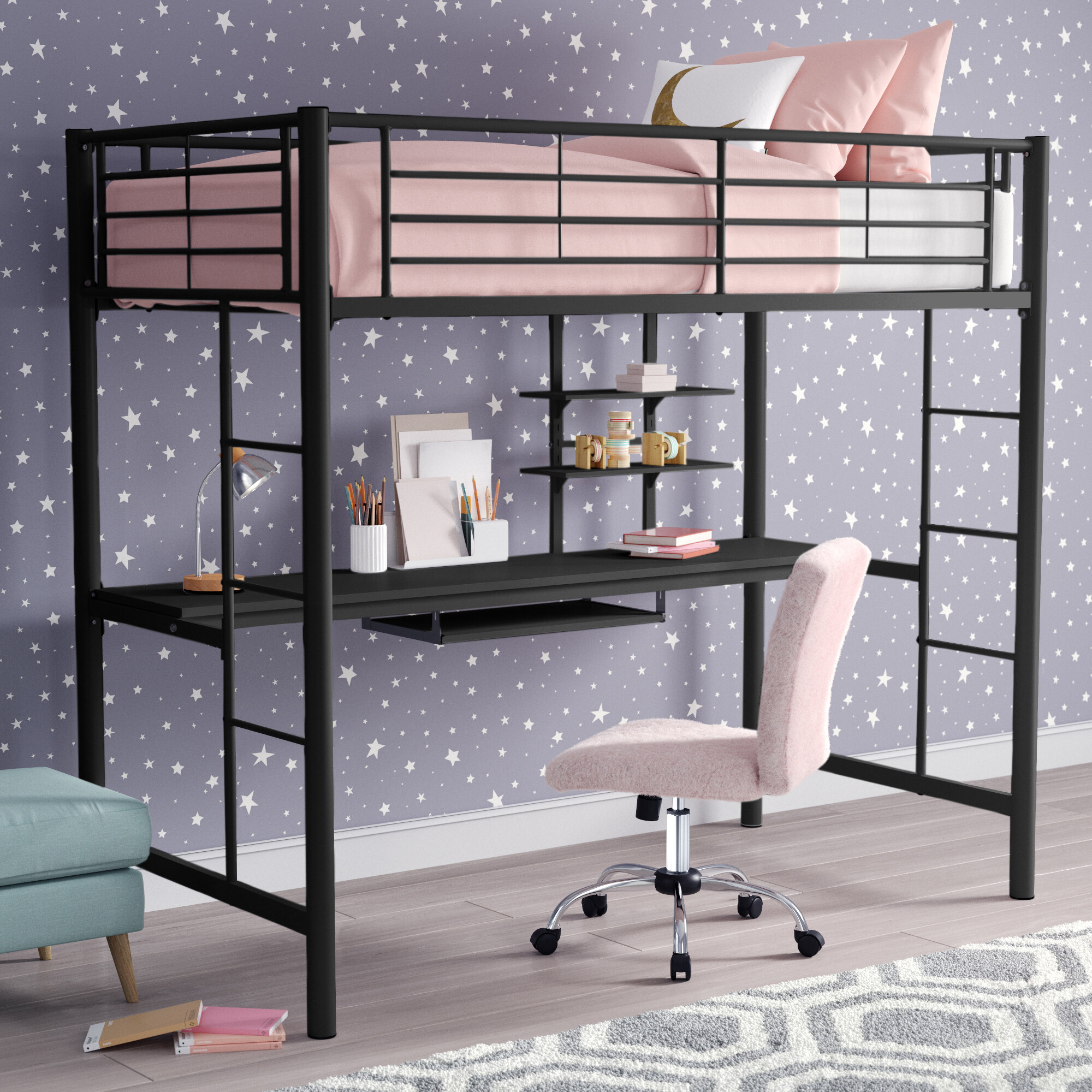 Loft bed with desk and bookcase