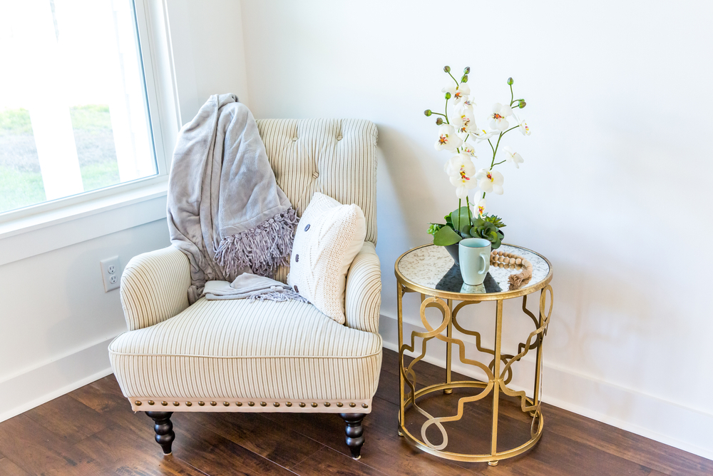 Reading nook corner with armchair