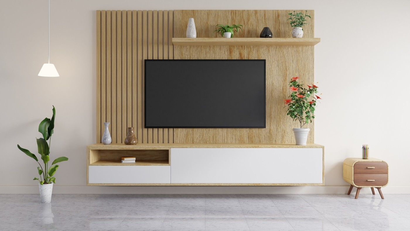 TV is Mounted on a Wooden Wall