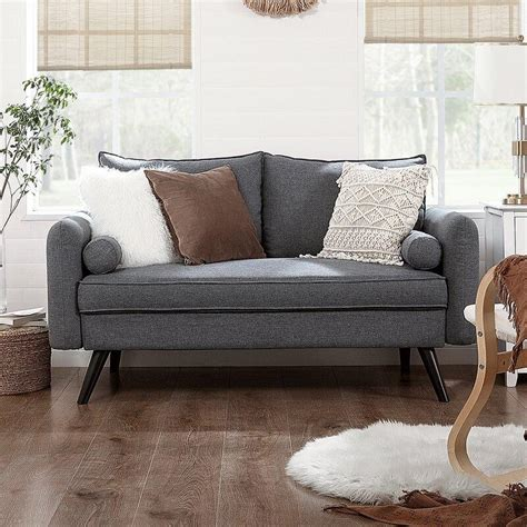 Wide square arm loveseat