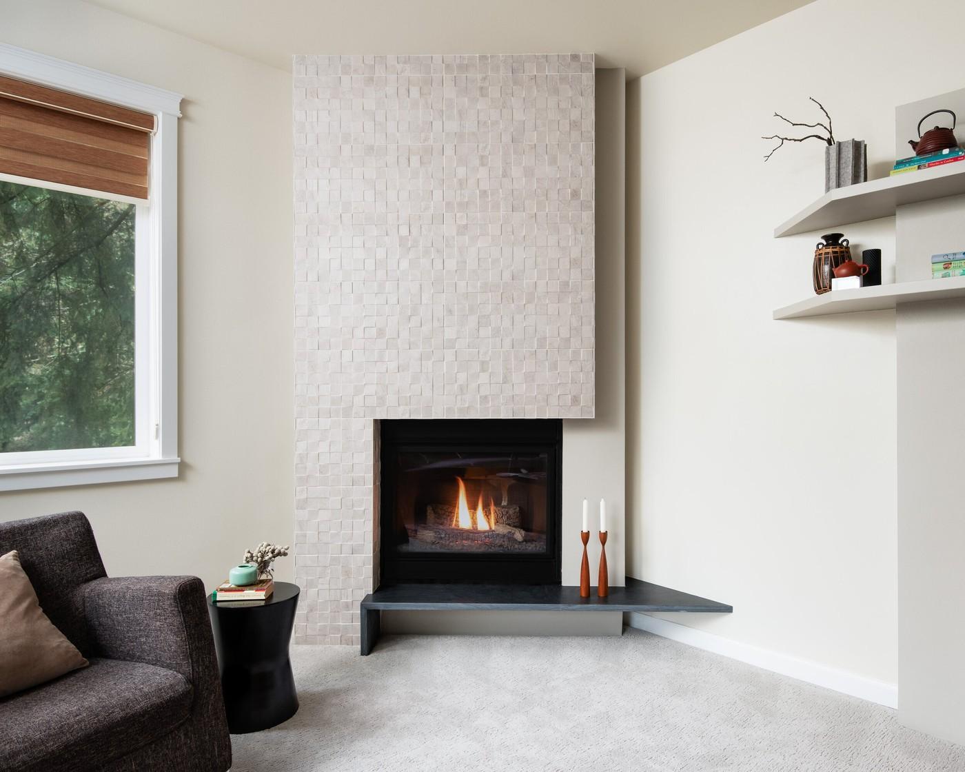 Asymmetrical Fireplace Design