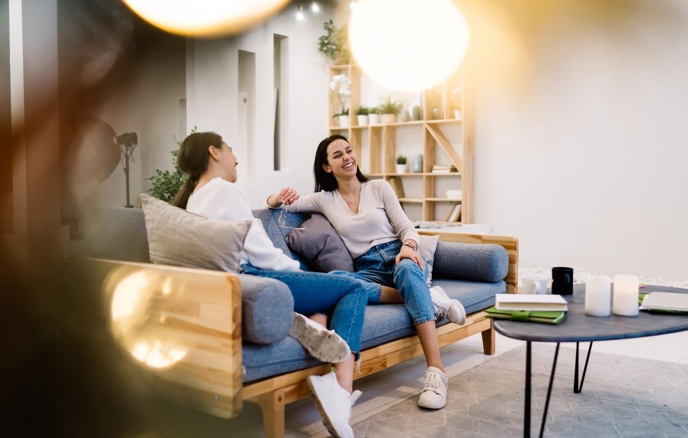 Conversation on Sofa