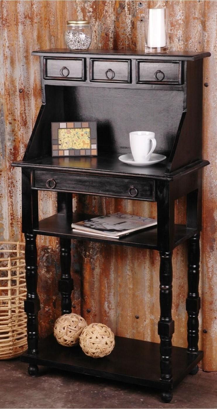 Distressed Antique Black Secretary Desk