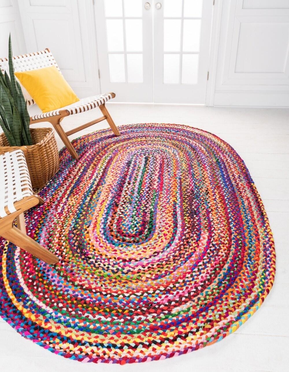 Geometric Braided Cotton Rug