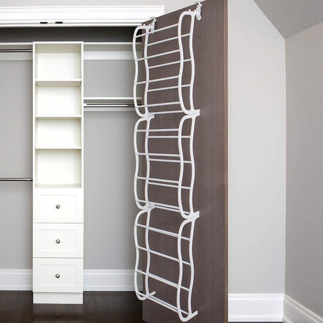 Shoe Rack w// Hooks Over the Door 12 Pair Wall Hanging Closet Organizer Storage