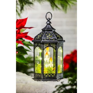 Battery Powered Holiday Glass Lantern