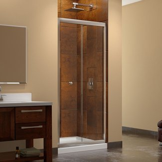 "Butterfly Frameless 32"" x 32"" x 72"" Square Bi-Fold Shower Enclosure"