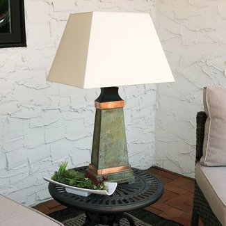 "Copper Trimmed Slate 30"" Desk Lamp"