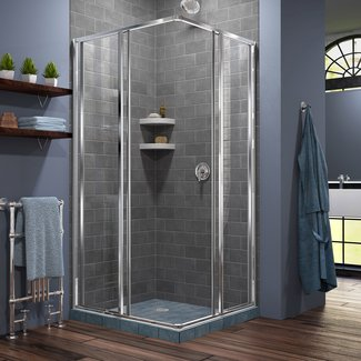 "Cornerview 34.5"" x 34.5"" x 72"" Square Sliding Shower Enclosure"