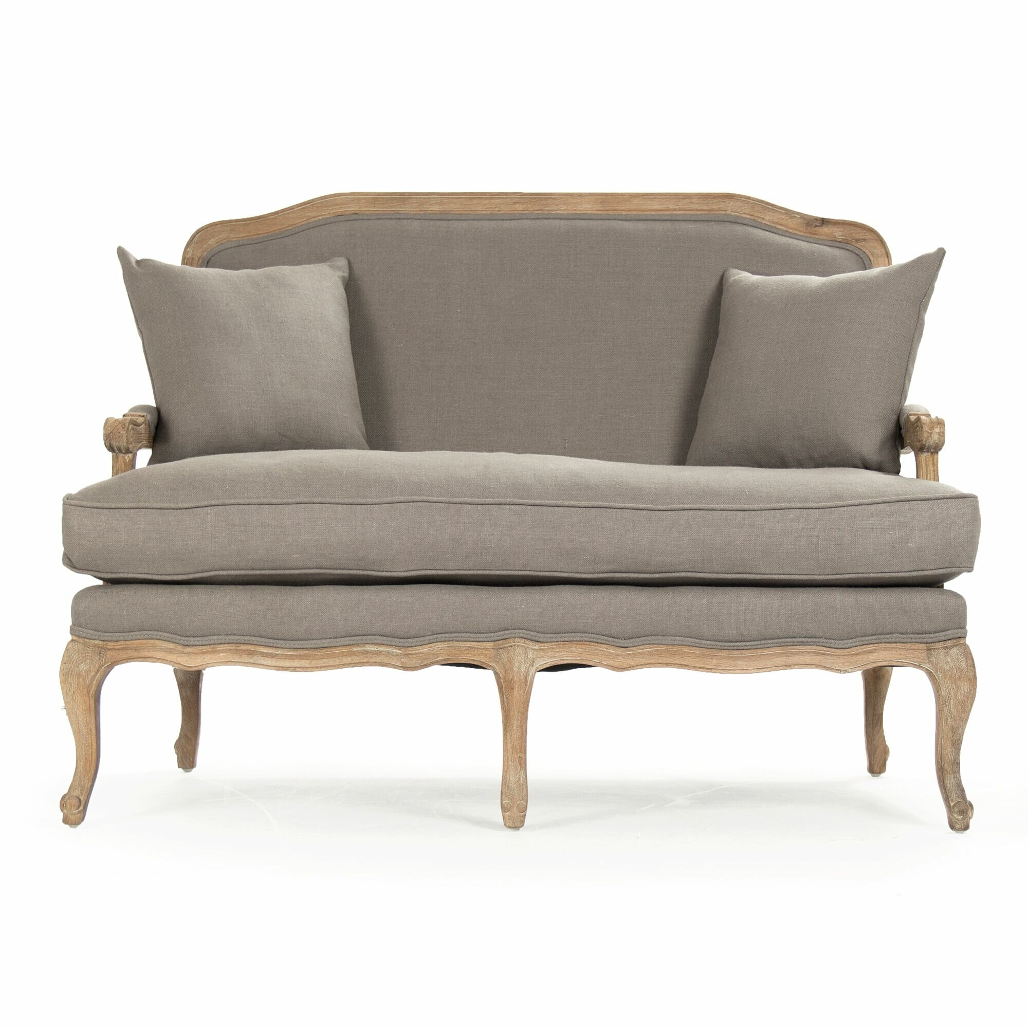Traditional Design For An Old Fashioned Loveseat Couch With A Contemporary  Twist. The Frame Made Out Of Bright Birch Wood With A Distressed Coat Of  White ...