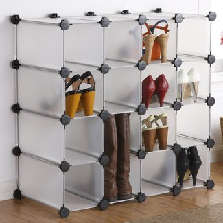 Interlocking 16-Compartment 16 Pair Shoe Rack