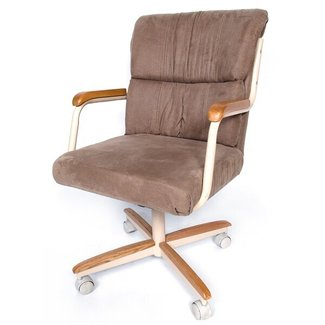 Mid Back Dining Caster Chair With Arms