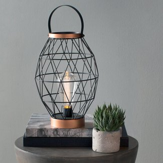 "Oblong Metal Caged Outdoor 11"" Table Lamp"