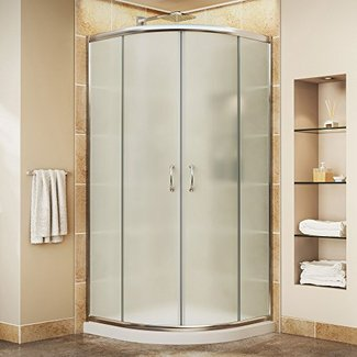 "Prime Frameless 38"" x 38"" x 74.75"" Curved Sliding Shower Enclosure"