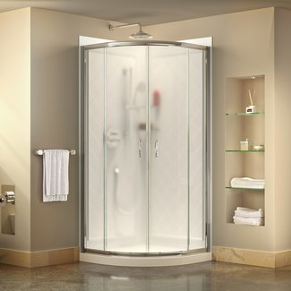 "Prime Frameless 38"" x 38"" x 76.75"" Square Sliding Shower Enclosure"