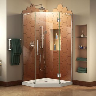 "Prism Plus 36"" W x 36"" D Frameless Hinged Shower Enclosure"