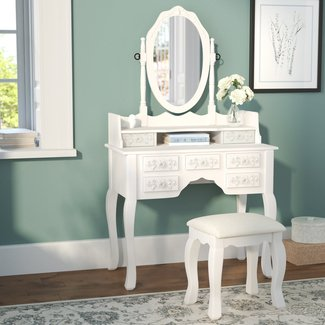 Provence Vanity Set with Mirror And Padded Stool