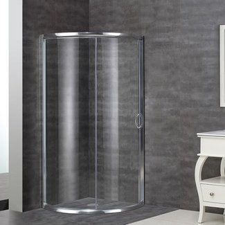 "Semi-Frameless 36"" x 36"" x 75"" Round Shower Enclosure"