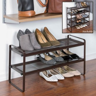 Space Saving 6 Pair Stackable Shoe Rack