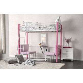 Twin over Twin Bunk Bed with Cushions