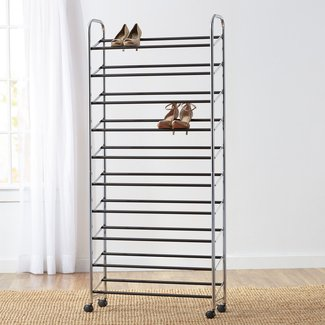 Wayfair Basics 50 Pair Rolling Shoe Rack