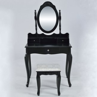 Wilmette Vintage Makeup Vanity Set with Mirror
