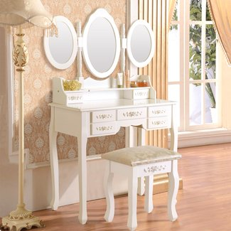 Wilsonville Makeup Tri-Folding Vanity Set with Mirror